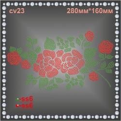 """""""Ветка розы"""" из страз (1шт/л)."""