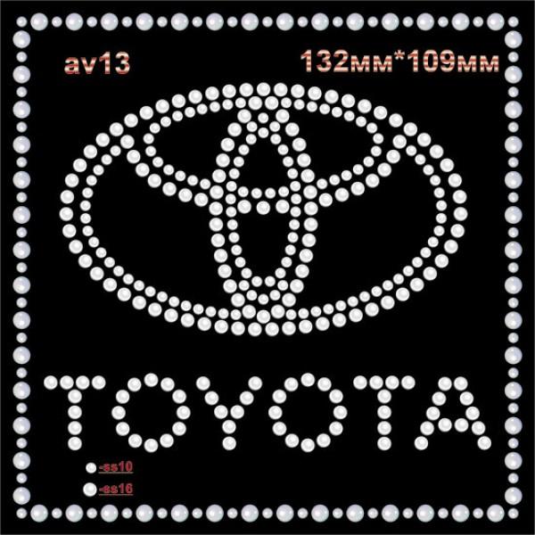 """Логотип из страз """"Toyota"""" (4шт/л)."""