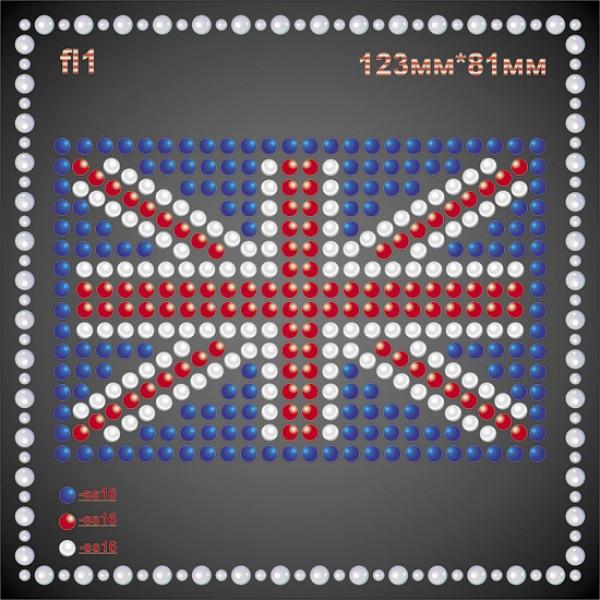 """""""Флаг Британии"""" из страз (2шт/л)."""