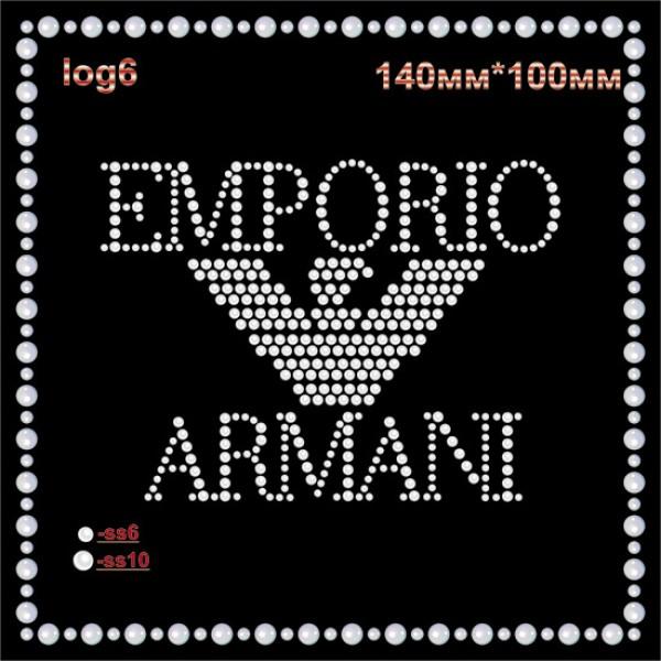 """Аппликация из страз """"Emporio Armani"""" (4шт/л)."""