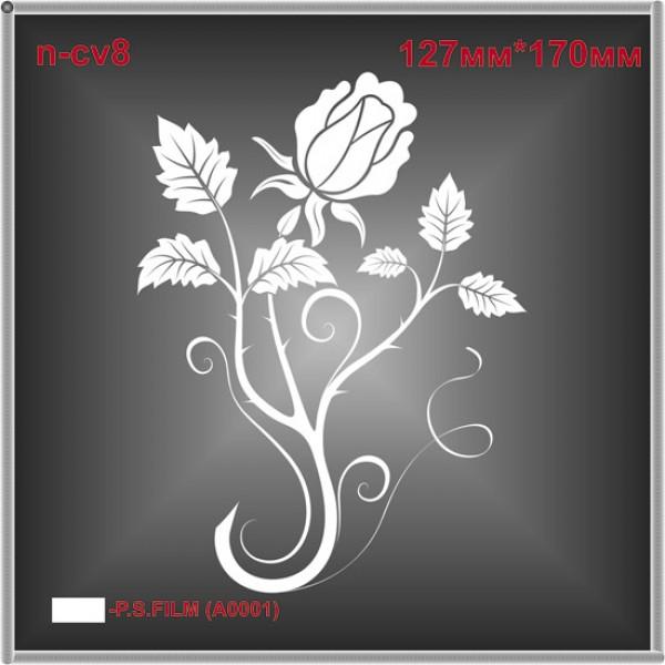 """Термоаппликация """"Ветка розы"""" (4шт/л)."""